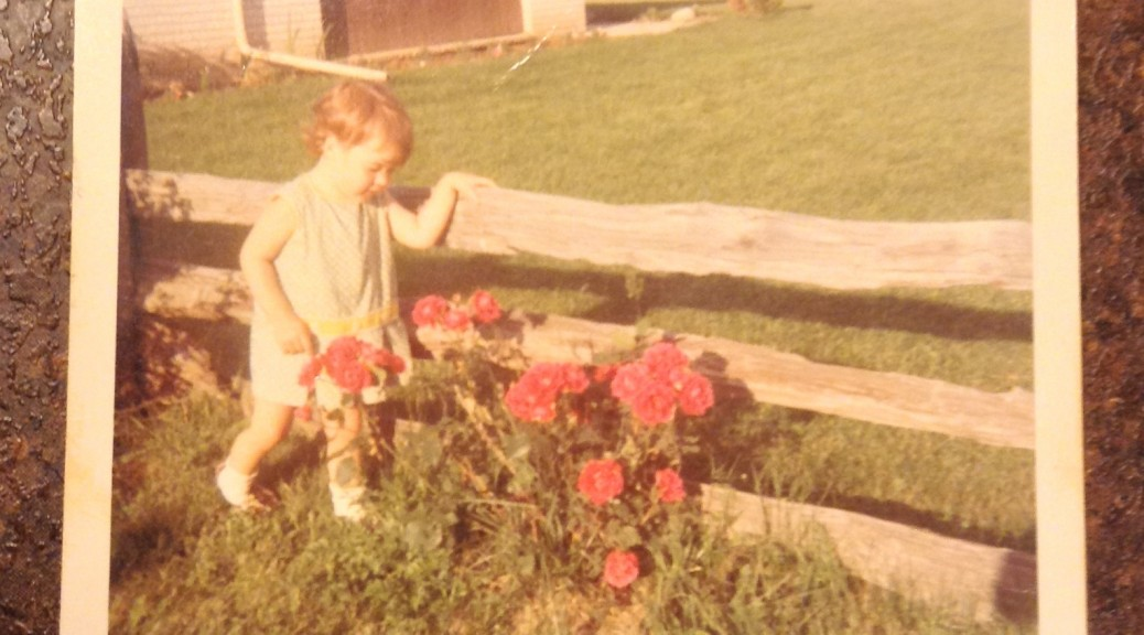 little girl by rail fence